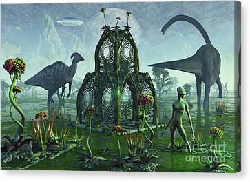 A Reptoid Alien Colonist At Work Canvas Print by Mark Stevenson