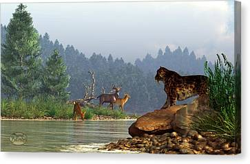 A Saber-tooth Hunting Deer Canvas Print by Daniel Eskridge