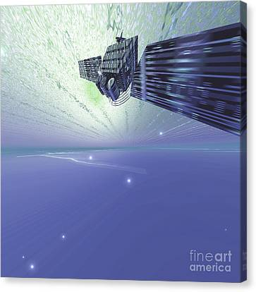 A Satellite Out In The Vast Beautiful Canvas Print by Corey Ford