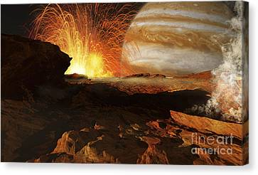 A Scene On Jupiters Moon, Io, The Most Canvas Print by Ron Miller