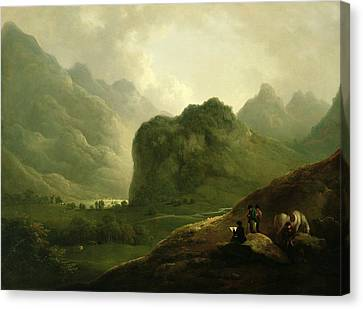 A Sketching Party In The Pass At Borrowdale Canvas Print by Julius Caesar Ibbetson