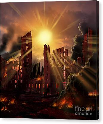 A Solar Flare, An Enormous Eruption Canvas Print by Ron Miller