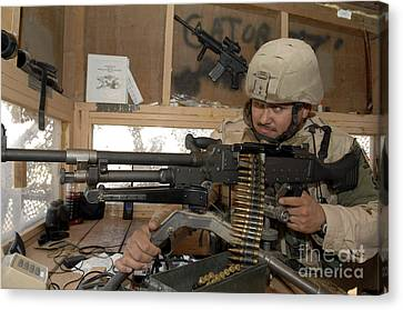 A Soldier Conducts An Observation Canvas Print by Stocktrek Images