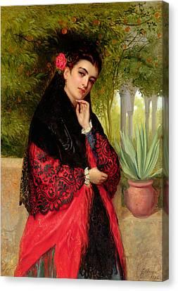 A Spanish Beauty Canvas Print by John-Bagnold Burgess