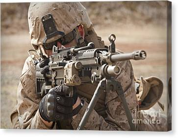 A Squad Automatic Weapon Gunner Canvas Print by Stocktrek Images