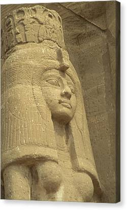 A Statue Of Nefertari At The Entrance Canvas Print by Richard Nowitz