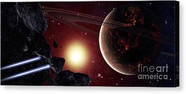 A Stealth Fighter En Route To Hades Canvas Print by Frieso Hoevelkamp