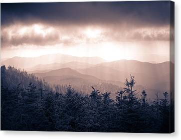 a Storm Over the Smokys Monotone Canvas Print by Pixel Perfect by Michael Moore
