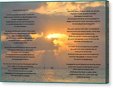 A Sunset A Poem - Victor Hugo Canvas Print by Bill Cannon