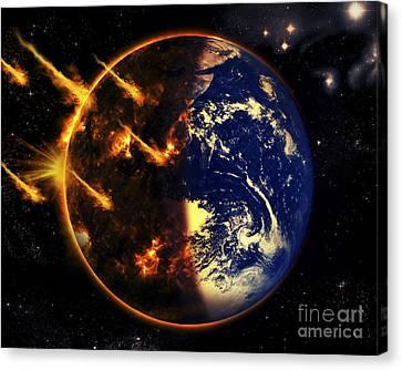 A Swarm Of Deadly Meteorites Impact Canvas Print by Tomasz Dabrowski