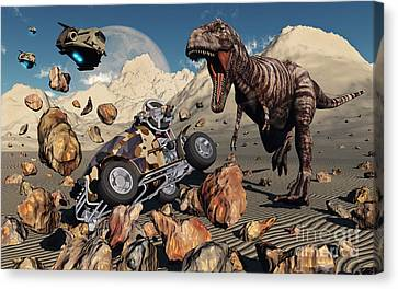 A Team Of Time Travelling Explorers Try Canvas Print by Mark Stevenson