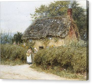 A Thatched Cottage Near Peaslake Surrey Canvas Print by Helen Allingham