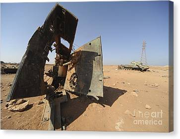 A Tracked Artillery Vehicle Destroyed Canvas Print by Andrew Chittock