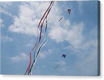 A Train Of Kites Flies At The Jockeys Canvas Print by Stephen Alvarez
