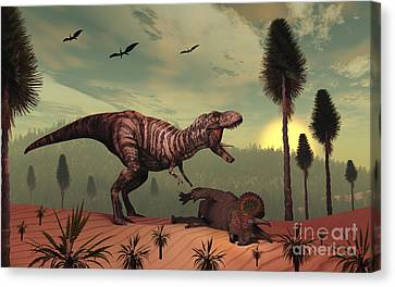 A Triceratops Falls Victim Canvas Print by Mark Stevenson