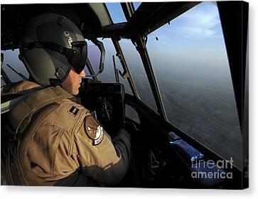 A U.s. Air Force C-130j Hercules Pilot Canvas Print by Stocktrek Images