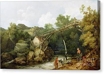 A View Near Matlock Canvas Print by Philip James Loutherbourg