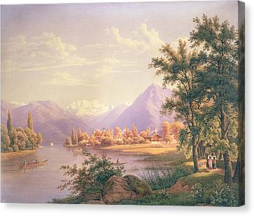 A View Of Scherzingen On The Lake Of Thun Canvas Print by Jakob Suter