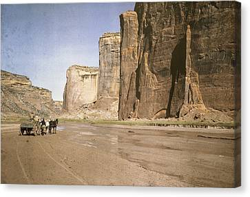 A View Of The Rock Formations At Canyon Canvas Print by Edwin L. Wisherd