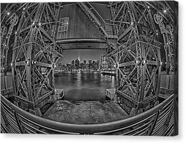 A View To The Empire State Bw Canvas Print by Susan Candelario