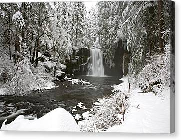 A Waterfall In To A River In Winter Canvas Print by Craig Tuttle