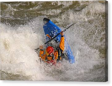 A Whitewater Kayaker Getting Vertical Canvas Print by Skip Brown