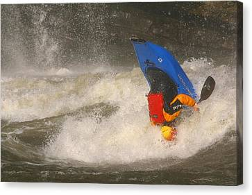 A Whitewater Kayaker Upside Canvas Print by Skip Brown