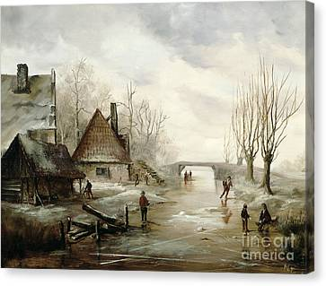 A Winter Landscape With Figures Skating Canvas Print by Dutch School