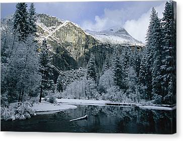 A Winter View Of The Merced River Canvas Print by Marc Moritsch