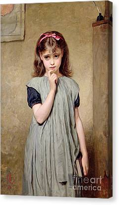 A Young Girl In The Classroom Canvas Print by Charles Sillem Lidderdale