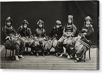 A Young Group Of Well Dressed Nepali Canvas Print by John-Claude White