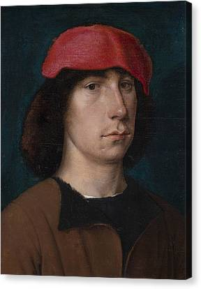 A Young Man In A Red Cap Canvas Print by Michiel Sittow