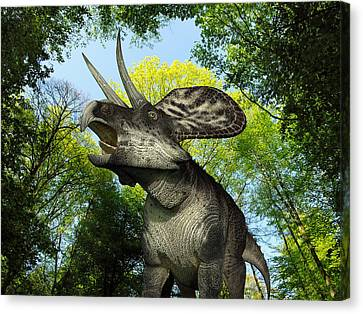 A Zuniceratops Wanders A Cretaceous Canvas Print by Walter Myers