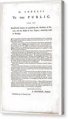 Abolitionist Address By Benjamin Canvas Print by Everett