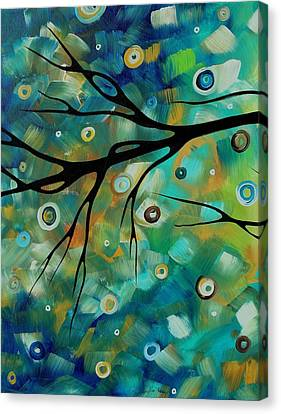 Abstract Art Original Landscape Painting Colorful Circles Morning Blues II By Madart Canvas Print by Megan Duncanson