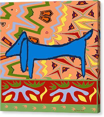 Abstract Blue Dachshund Canvas Print by Jerry Schwehm