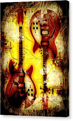 Abstract Grunge Guitars Canvas Print by David G Paul