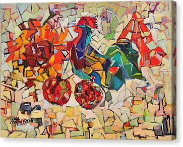 Abstract With Rooster Canvas Print by Liubov Meshulam Lemkovitch