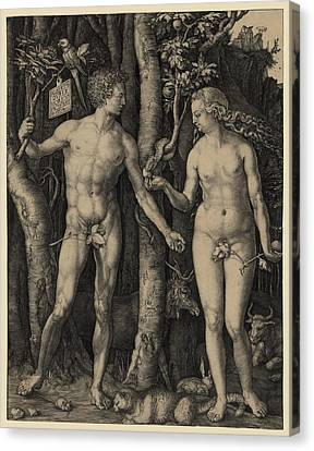 Adam And Eve, 1504 Engraving By German Canvas Print by Everett
