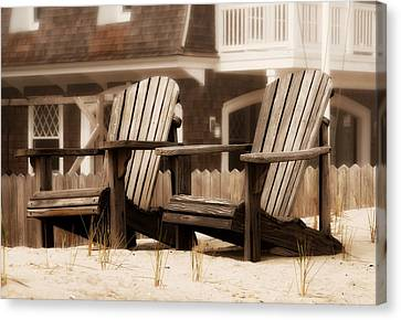 Adirondack Chairs On The Beach - Jersey Shore Canvas Print by Angie Tirado