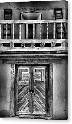 Adobe Church Door And Balcony Canvas Print by Steven Ainsworth