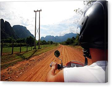 Adventure Motorbike Trip In Laos Canvas Print by Thepurpledoor