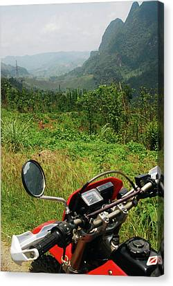 Adventure Motorbike Trip Through Mountains, Laos Canvas Print by Thepurpledoor