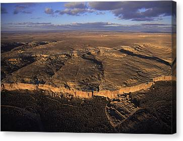 Aerial View Of Chaco Canyon And Ruins Canvas Print by Ira Block