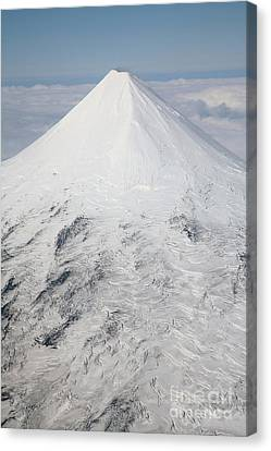 Aerial View Of Glaciated Shishaldin Canvas Print by Richard Roscoe