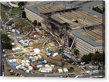 Aerial View Of The Terrorist Attack Canvas Print by Stocktrek Images