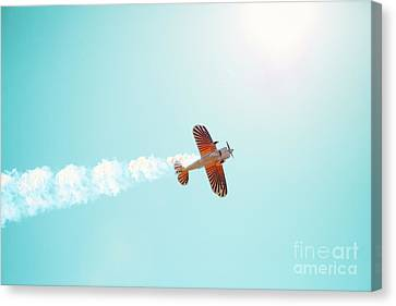 Aerobatic Biplane Inverted Canvas Print by Kim Fearheiley