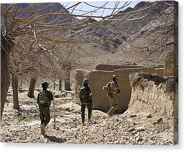 Afghan Commandos Are Guided Canvas Print by Stocktrek Images