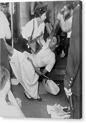 African American Woman Resisting Canvas Print by Everett