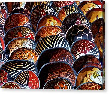 African Art  Wooden Bowls Canvas Print by Werner Lehmann